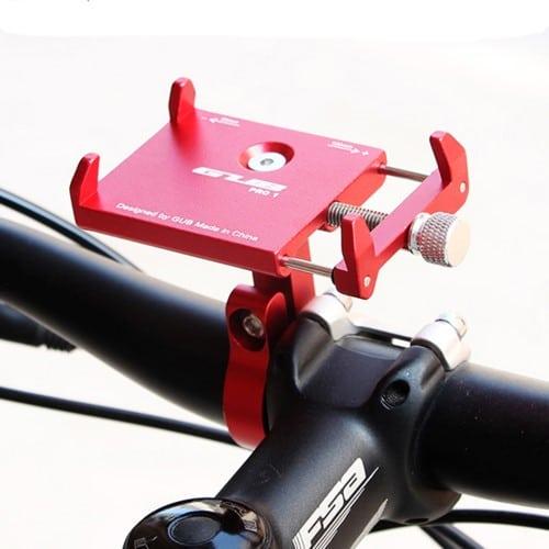 Βάση κινητού τηλεφώνου αλουμινίου GUB Pro 1 AT759 50-100mm για ηλεκτρικό σκούτερ ή ποδηλάτου κόκκινη